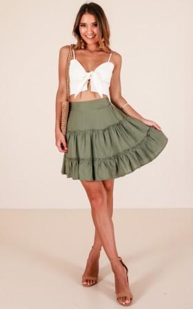 Like The Rain skirt in khaki linen look