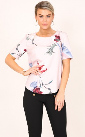 Role Model top in dusty pink floral