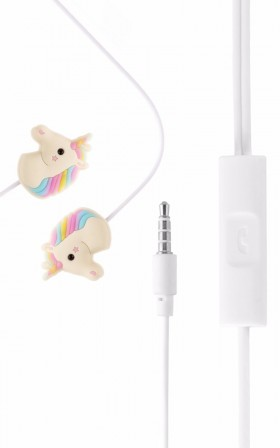 Unicorn earphones in white