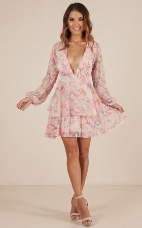 Poison Kiss dress in blush floral