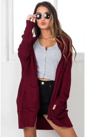 Begin Again knit cardigan in wine