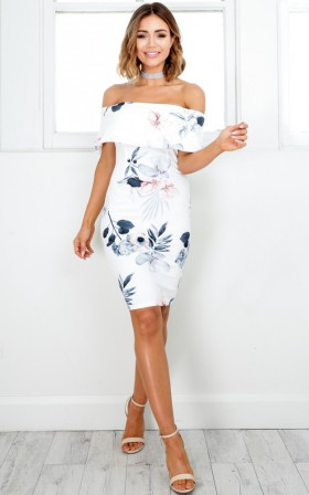 Precious Things dress in white floral