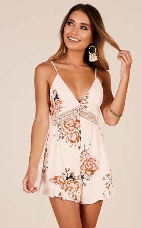 Then I Met You playsuit in beige floral
