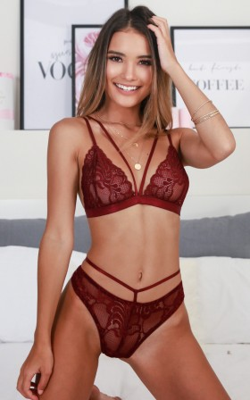 Wild Obsession Bralette set in wine