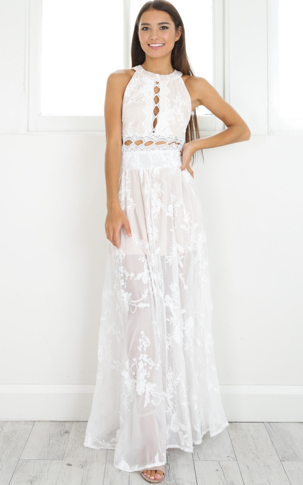 The Wanderer maxi dress in white lace | Showpo